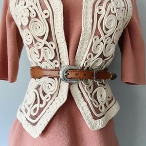 Vintage Western Brown Leather Concho Waist Belt